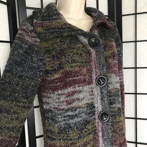 Kensie Knitted Knee Length Button Cardigan